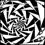 Distortion Drawings Prints - Abstract Distortion Wobbly Maze  Print by Yonatan Frimer Maze Artist