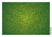 Ramspott Prints - Abstract Doodle Faces Green Print by Frank Ramspott
