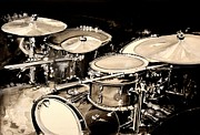 Rock Music Metal Prints - Abstract Drum Set Metal Print by J Vincent Scarpace