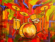 Drums Paintings - Abstract Drums by Pete Maier