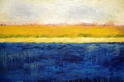 Rough Painting Prints - Abstract Dunes with Blue and Gold Print by Michelle Calkins
