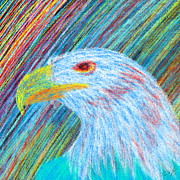 Red Eye Drawings - Abstract Eagle With Red Eye by Kenal Louis
