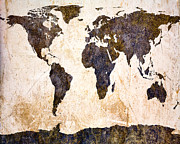 Vintage Map Digital Art Metal Prints - Abstract Earth Map Metal Print by Bob Orsillo