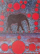 Red White And Blue Mixed Media Originals - Abstract elephant painting texture and background colorful by Jennifer Vazquez