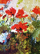 Provence Mixed Media Posters - Abstract Expressive Poppies Provencale Poster by Ginette Callaway