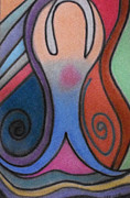 Spirals Pastels Posters - Abstract Figure In Color Poster by Christine Perry