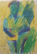 Abstract Pastel Metal Prints Posters - Abstract Figure in Green Blue and Yellow Poster by Esther Newman-Cohen