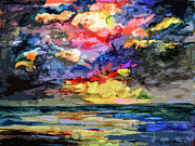 Sunrise Mixed Media Prints - Abstract Fire In The Sky Stormy Sunrise Print by Ginette Callaway