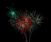 Blue Fireworks Prints - Abstract Fireworks Print by Robert Bales