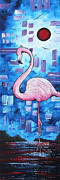 Tropical Dreams Posters - Abstract Flamingo Tropical Art Original Painting FLAMINGO DREAMS by MADART Poster by Megan Duncanson