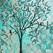 Contemporary Pastels Posters - Abstract Floral Birds Landscape Painting Bird Haven II by Megan Duncanson Poster by Megan Duncanson