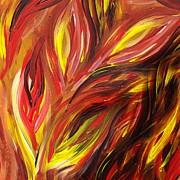 Irina Sztukowski - Abstract Floral Flaming Leaves