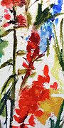 Ginette Fine Art LLC Ginette Callaway - Abstract Floral Red and Blue