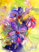 Purple Flowers Drawings - abstract Flower botanical watercolor painting print by Svetlana Novikova
