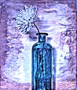 Purples Digital Art - Abstract Flower in a Bottle by Marsha Heiken