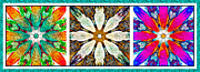 Repeat Patterns Digital Art Posters - Abstract Flower Triptych Poster by Barbara Griffin