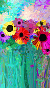Ann Painting Prints - abstract - flowers- Flower Power Four Print by Ann Powell
