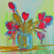 Interior Still Life Paintings - Abstract Flowers by Patricia Awapara