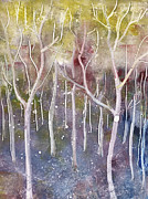 Forest Reliefs Metal Prints - Abstract Forest Metal Print by Suzette Broad
