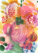 Floral Card Prints - Abstract Garden #44 Print by Linda Woods