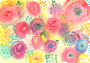 Yellow Flowers Mixed Media Posters - Abstract Garden #45 Poster by Linda Woods