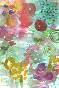 Floral Mixed Media Metal Prints - Abstract Garden Metal Print by Linda Woods
