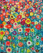 Rich Colorful Flower Prints - Abstract Garden Of Happiness Print by Ana Maria Edulescu