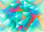 Abstract Geometry Of Triangles In Digital Art Print by Mario  Perez