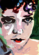 Gloria Mixed Media Posters - Abstract Gloria Swanson Silent Movie Star Poster by Ginette Callaway