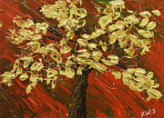 Handmade Trunk Posters - Abstract Gold Maple Tree Palette Knife Painting Poster by Keith Webber Jr