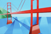 Cubism Paintings - Abstract Golden Gate Bridge by Mark Webster