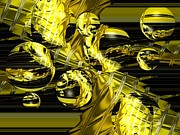 Abstract Golden Vortex With Bubbles Print by Darrell Arnold