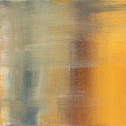 Rust Paintings - Abstract Golden Yellow Gray Contemporary Trendy Painting FLUID GOLD ABSTRACT I by MADART Studios by Megan Duncanson