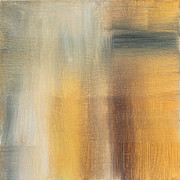 Rust Paintings - Abstract Golden Yellow Gray Contemporary Trendy Painting FLUID GOLD ABSTRACT II by MADART Studios by Megan Duncanson