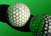 Golf Ball Posters - Abstract  Golf Balls in Green  Poster by Ann Powell