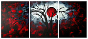 Crimson Prints - Abstract Gothic Art Original Landscape Painting IMAGINE by MADART Print by Megan Duncanson