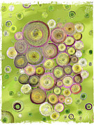 Fruit Digital Art Posters - Abstract grapes Poster by Veronica Minozzi