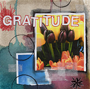 Red Sky Mixed Media Posters - Abstract Gratitude Poster by Linda Woods