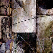 Mixed Media Collages Prints - Abstract Gray  Print by Ann Powell
