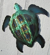 Ocean Sculpture Posters - Abstract Green Sea Turtle metal sculpture Poster by Robert Blackwell