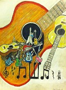 Studio Drawings - Abstract guitars by Larry Lamb