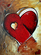 Loved One Posters - Abstract Heart Original Painting Valentines Day HEART BEAT by MADART Poster by Megan Duncanson