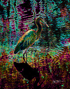 Ducks Digital Art Prints - Abstract Heron Print by Jeff McJunkin