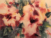 Drips Paintings - Abstract Hibiscus by Sharon K Wilson 