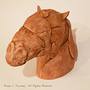 Fired Clay Sculpture Framed Prints - Abstract Horse Head Ceramic Sculpture Framed Print by Catherine Twomey