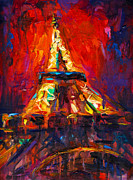 Austin At Night Posters - Abstract Impressionistic Eiffel Tower painting Poster by Svetlana Novikova
