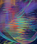 Jane Mcilroy Metal Prints - Abstract in Blue and Purple Metal Print by Jane McIlroy