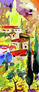 Italian Landscape Mixed Media Prints - Abstract Italy Lago Di Como Print by Ginette Callaway