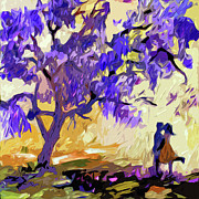 Fushia Digital Art - Abstract Jacaranda Tree Lovers by Ginette Callaway