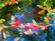 Red Abstract Paintings - Abstract Koi 1 by Amy Vangsgard
